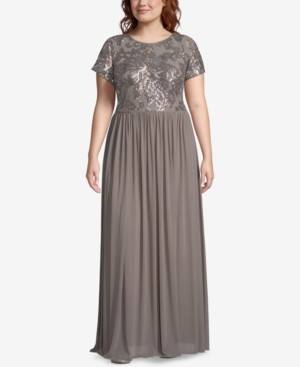 Betsy & Adam Plus Size Embellished-Bodice Gown