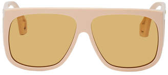 Gucci Beige Thick Acetate Shield Sunglasses