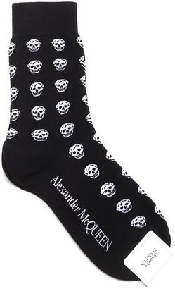 Alexander McQueen All-Over Skull Intarsia Socks