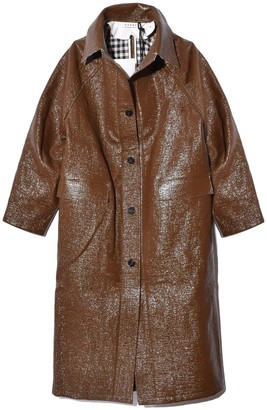 Kassl Lacquer Below The Knee Trench in Brown
