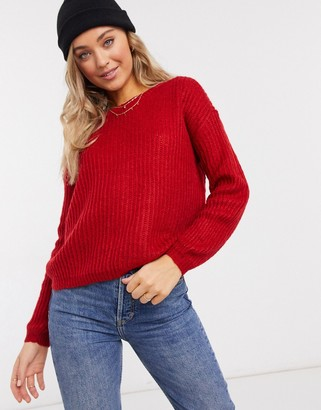 JDY chunky sweater in red