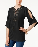 MICHAEL Michael Kors Petite Grommet-Trim Lace-Up Tunic