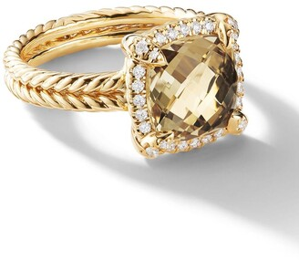 David Yurman 18kt yellow gold Chatelaine citrine and diamond ring