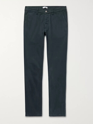 NN07 Marco Slim-Fit Garment-Dyed Stretch-Cotton Twill Chinos - Men - Blue