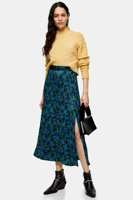 Topshop Womens Blue And Green Floral Pleated Popper Midi Skirt - Blue