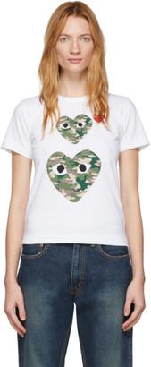 Comme des Garcons White Camo Double Heart T-Shirt