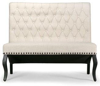 BEIGE Glamour Home Alisa Upholstered Settee Banquette Bench Loveseat with Button Tufting