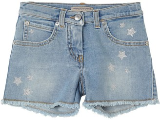 Ermanno Scervino Stretch Denim Shorts W/ Glitter Stars