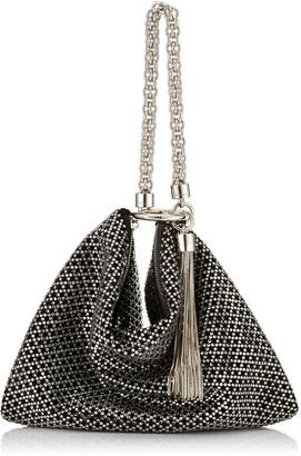 Jimmy Choo CALLIE Black Diamond Motif Crystal Hotfix on Suede Clutch Bag
