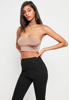 Missguided Nude Slinky Choker Neck Bralet