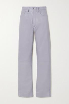 Kwaidan Editions Leather High-rise Straight-leg Pants - Lilac
