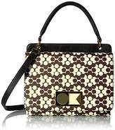 Orla Kiely Textured Vinyl Flower Wave Double Robin Handbag