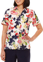 Alfred Dunner Classics Relaxed Fit Short Sleeve Floral Button-Front Shirt