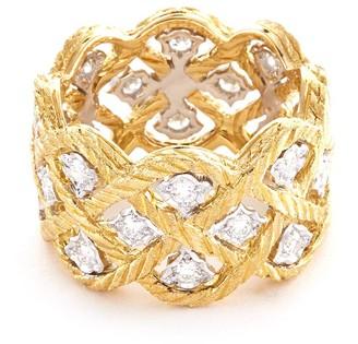 Buccellati 'Etoilee' diamond Yellow gold lattice ring