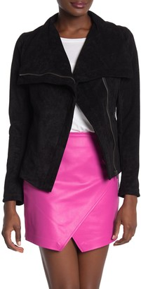 Blanknyc Denim Faux Suede Asymmetrical Moto Jacket