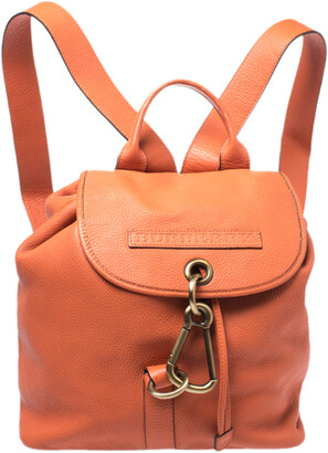 Burberry Orange Leather Hook Flap Backpack