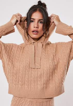 Missguided Premium Camel Co Ord Cable Knit Hooded Jumper