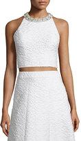 Alice + Olivia Tru Sleeveless Embellished Crop Top, White