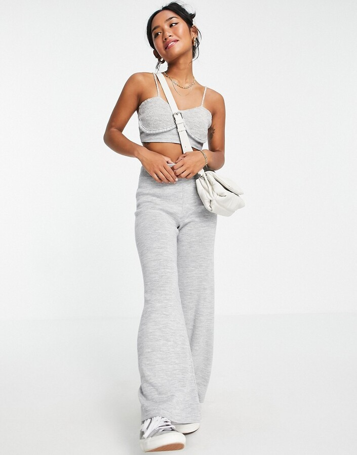 Thumbnail for your product : ASOS DESIGN Petite co-ord knitted bralet with cup detail in grey