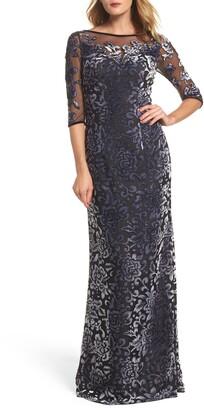 La Femme Burnout Velvet Column Gown