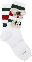 Gucci Striped Socks W/ Embellished Bow
