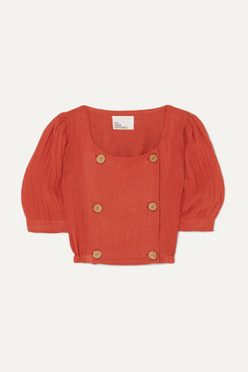 Lisa Marie Fernandez Diana Cropped Linen-blend Top - Bright orange