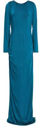 Galvan Open-back Ruched Stretch-jersey Gown