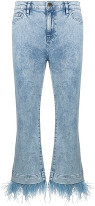 Twin-Set Feather Fringe Trim Cropped Jeans