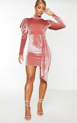 PrettyLittleThing Blush Velvet High Neck Bodycon Dress