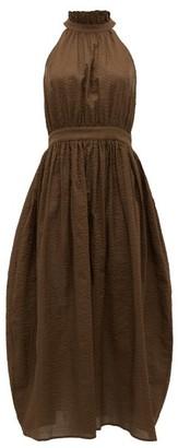 Marysia Swim Sea Urchin Halterneck Cotton-seersucker Dress - Womens - Dark Brown