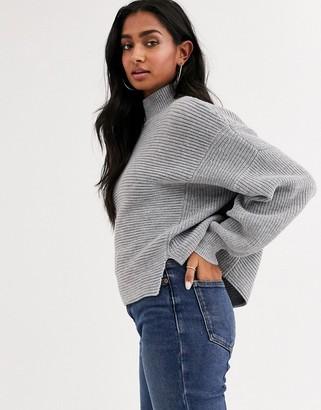 Asos Design DESIGN jumper with stepped hem-Grey