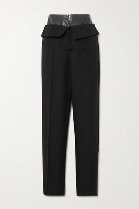 ALEKSANDRE AKHALKATSISHVILI Fold-over Faux Leather-trimmed Cotton-twill Wide-leg Pants - Black