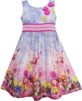 Sunny Fashion FS34 Girls Dress Tank Rose Garden Flower Print Cotton
