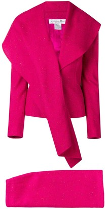 Christian Dior Pre Owned waterfull lapel skirt suit
