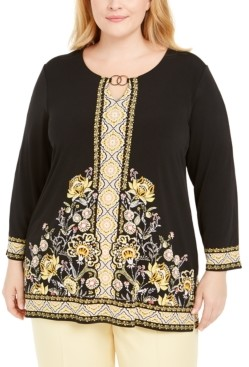 JM Collection Plus Size Hardware-Trim Keyhole Tunic, Created for Macy's