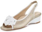 Taryn Rose Karlos Flower Demi-Wedge Sandal, Quartz/White