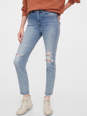 Gap High Rise Destructed Cigarette Jeans with Secret Smoothing Pockets.