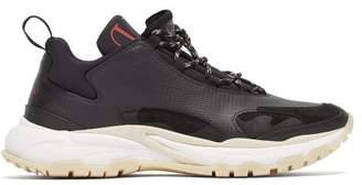 Valentino Trekking Leather And Neoprene Trainers - Mens - Black