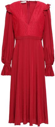 Philosophy di Lorenzo Serafini Lace-paneled Crepe De Chine Midi Dress