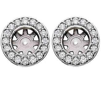 Pompeii3 3/4ct Halo Round Diamond Studs Earring Jackets White Gold Fits 1ct (6-6.5mm)