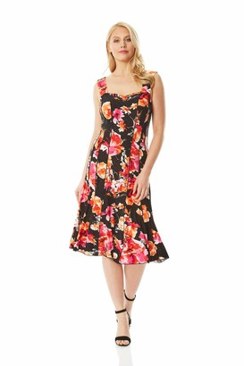 Roman Originals Women Floral Print Panel Skater Dress - Ladies Tropical Wedding Guests Smart Casual Comfortable Round Neck Knee Length Midi Jersey A Line Flattering - Red & Cream - Size 10