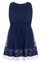 Quiz Curve Navy And White Lace Hem Skater Dress