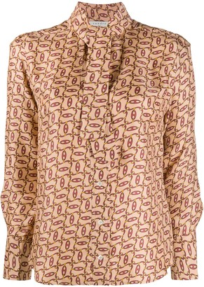 Sandro Chain-Print Pussy Bow Blouse