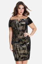 Fashion to Figure Melia Off Shoulder Metallic Velvet Dress