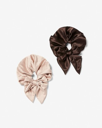 Express Set Of Two Oversized Satin Bow Ponytail Holders