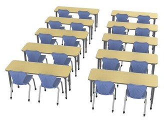 Marco Group Inc. Classroom Set: 10 Multi-Student Desks & 20 Chairs