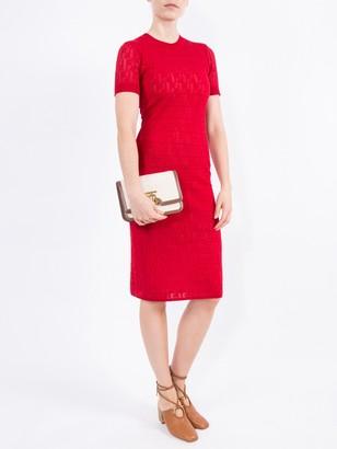 Fendi Monogram Devore T-shirt Dress Red