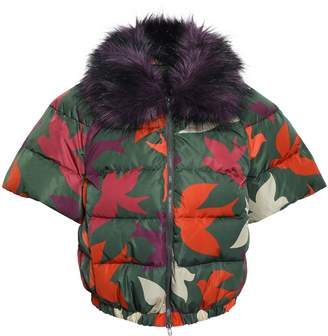 RED Valentino Faux Fur-trimmed Quilted Printed Shell Jacket