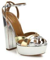 Aquazzura Luna Metallic Leather Platform Sandals