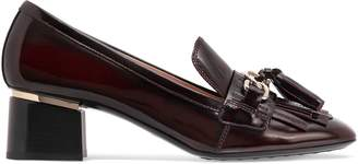 Tod's Fringe And Tassel-trimmed Glossed-leather Pumps